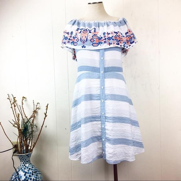 Sugarlips Dresses & Skirts - Sugarlips Off-Shoulder Ruffle Striped Summer Dress